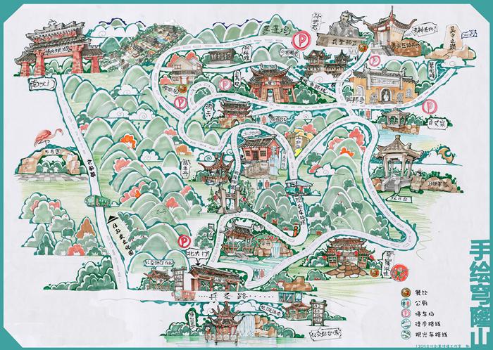 穹窿山手绘地图 @穹窿山旅游网