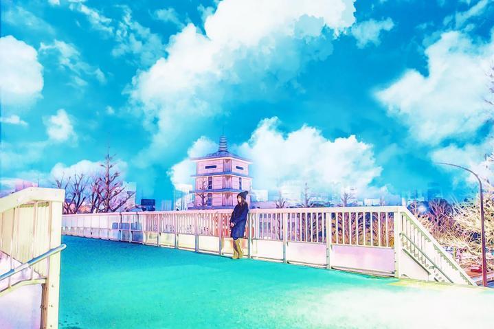 景地,天桥上的45度角仰望天空,他在憧憬,我在想往,期待着下